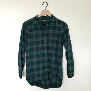 Madewell Classic Cut Navy & Green Flannel XS